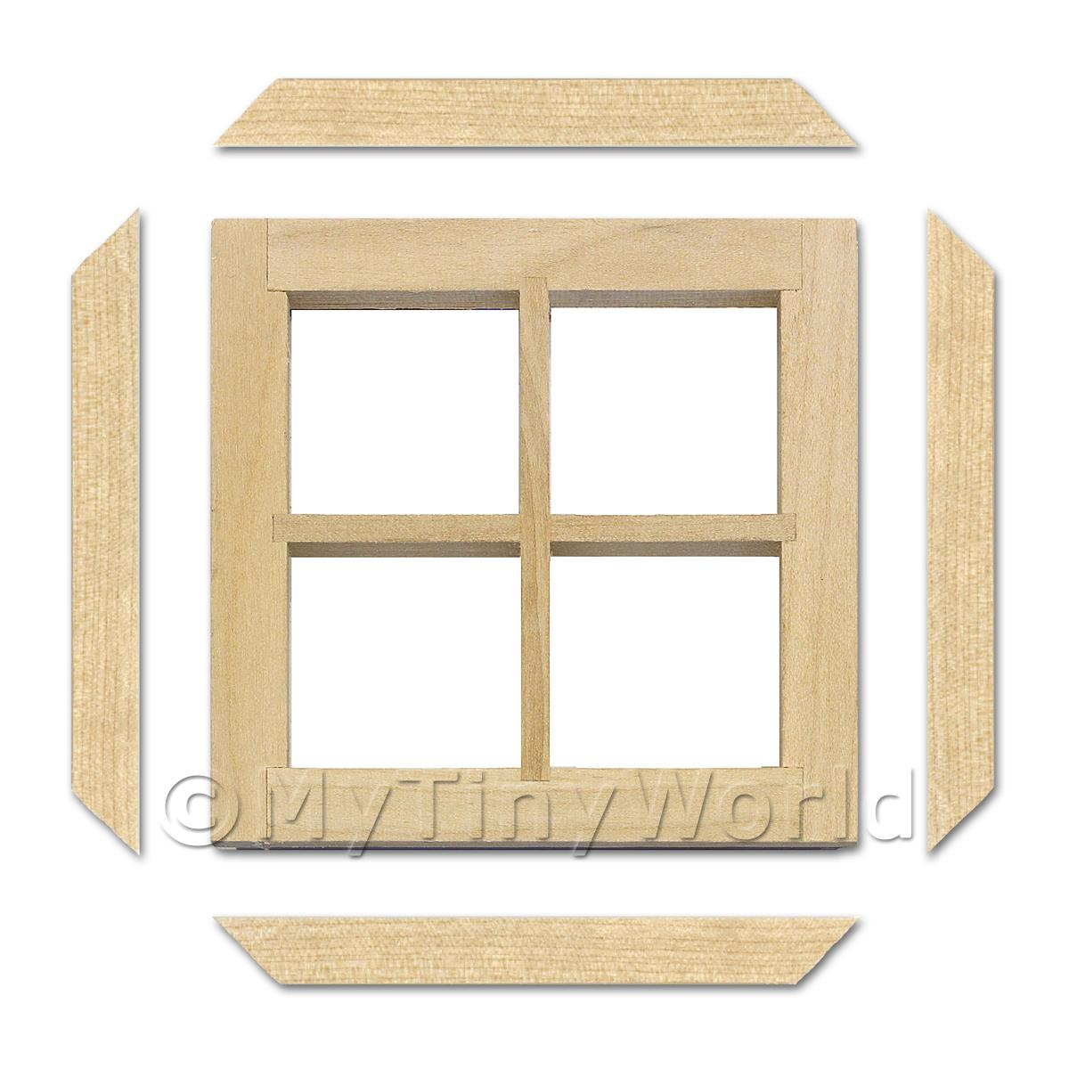 2 x Dolls House Miniature Plain 4 Pane Wood Window