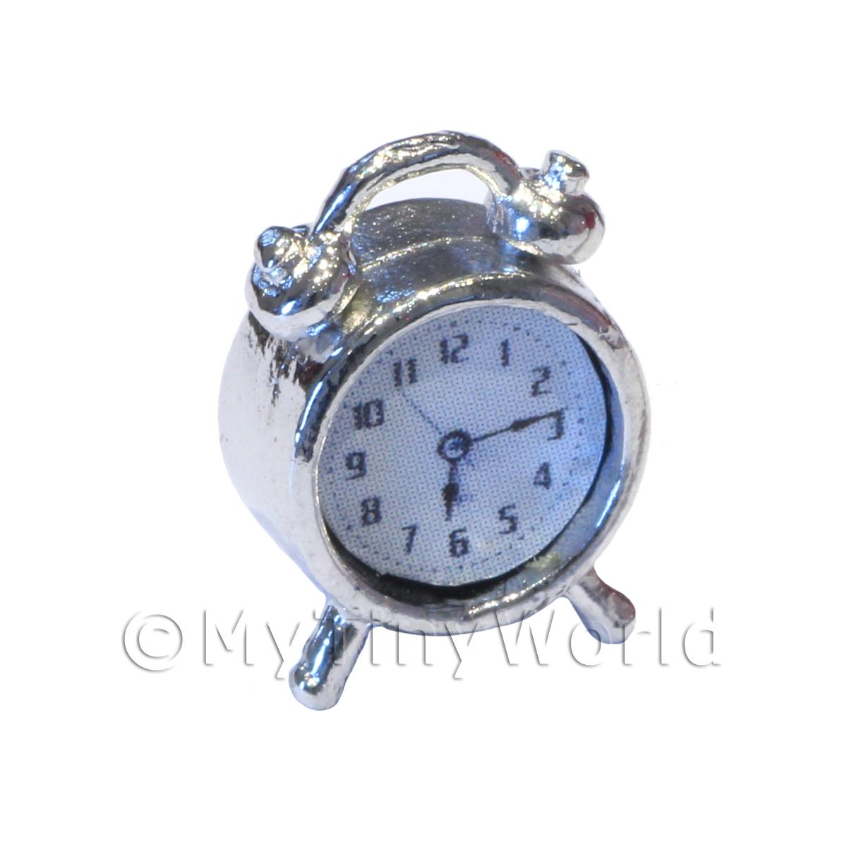 Dolls House Miniature  | Dolls House Solid Metal Silver Effect Old Style Alarm Clock