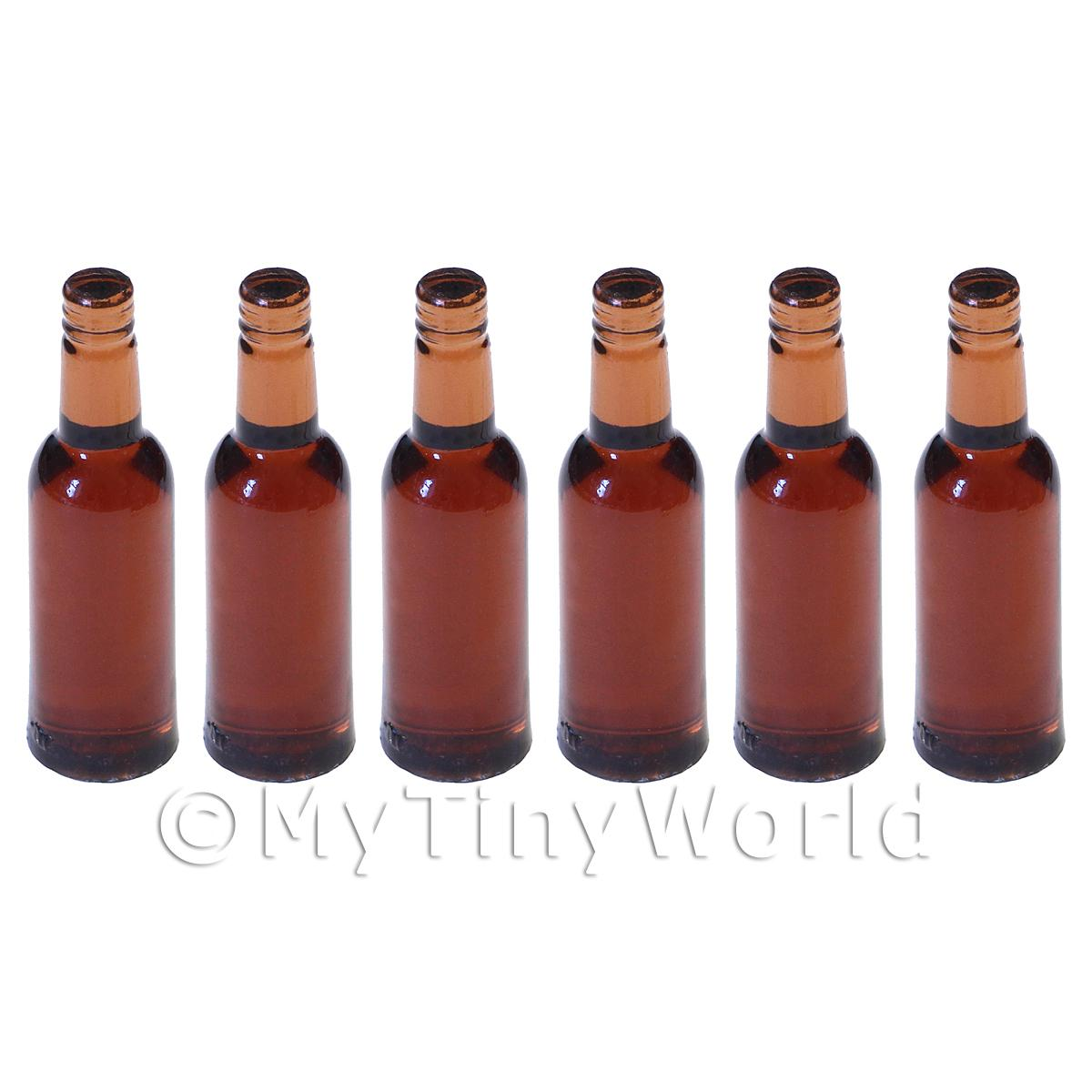 Dolls House Miniature  | Set of 6 Brown Dolls House Miniature Resin Drinks Bottles
