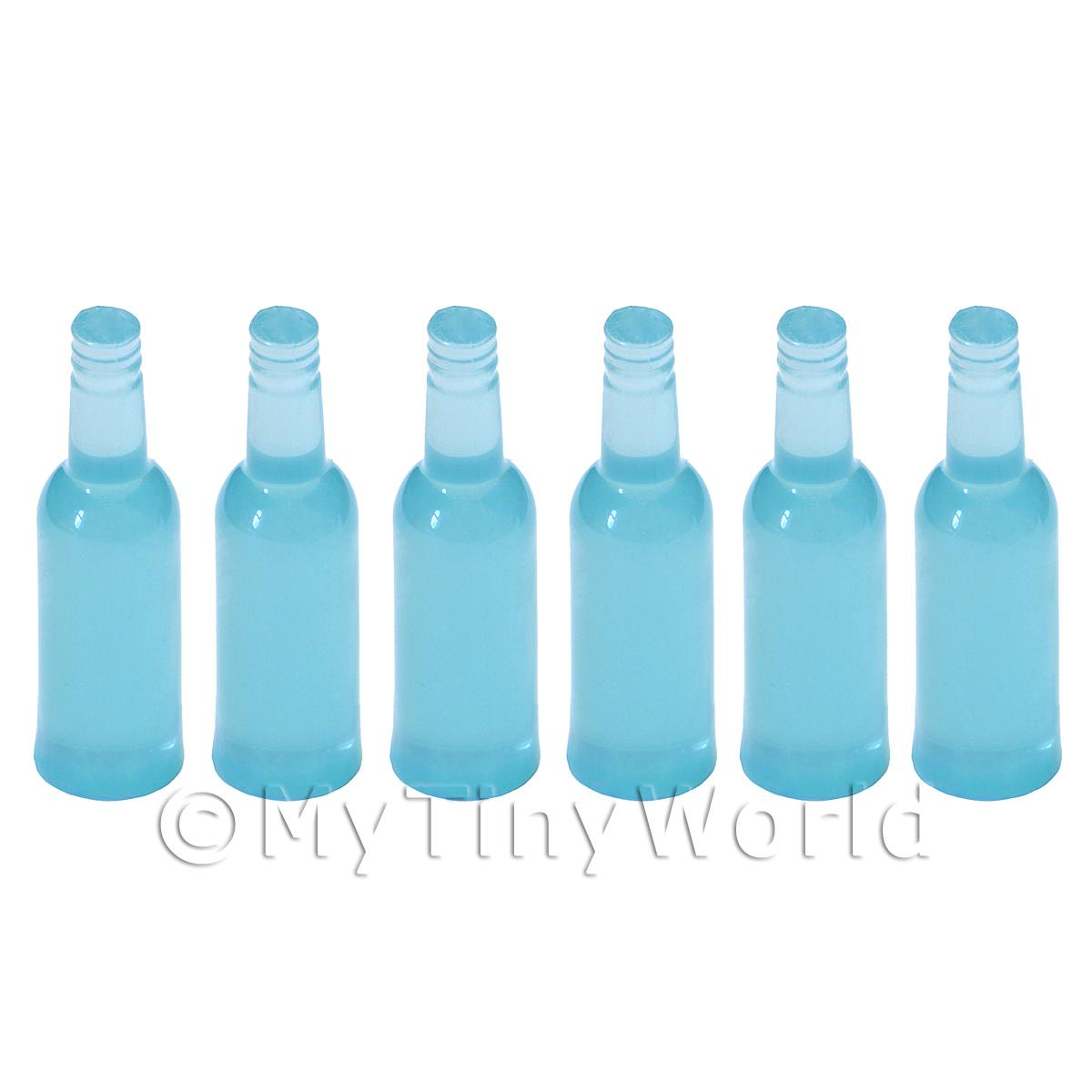 1/12 Scale Dolls House Miniatures  | Set of 6 Pale Blue Dolls House Miniature Resin Drinks Bottles