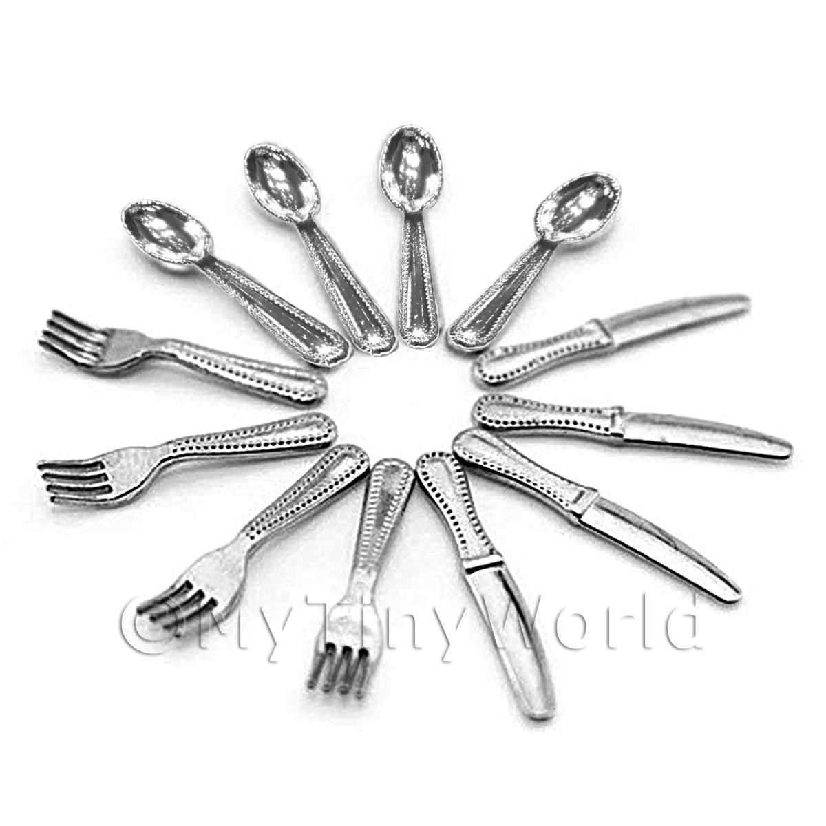 1/12 Scale Dolls House Miniatures  | 4 Complete Sets Of Dolls House Miniature Metal Cutlery - 12 Pieces
