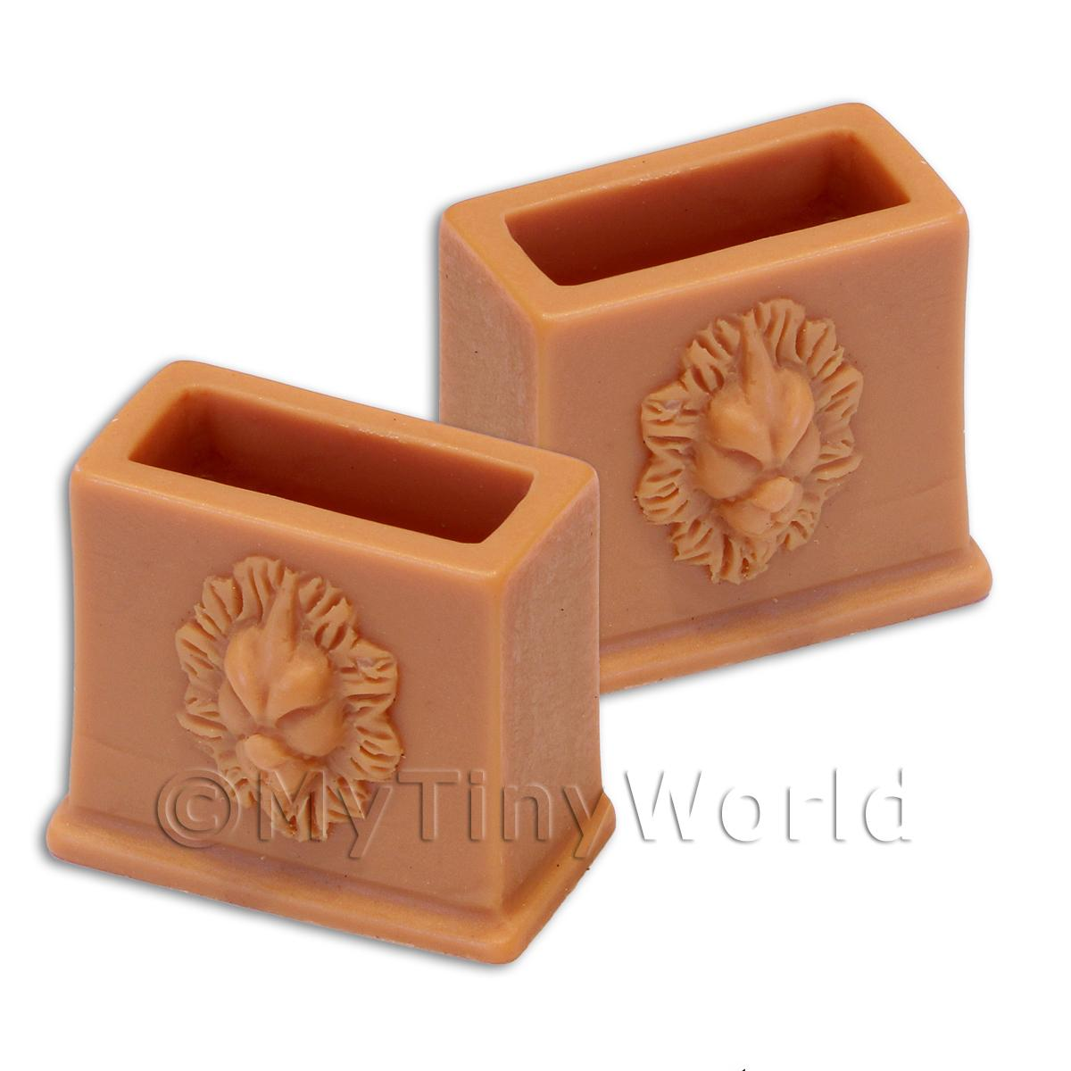 Pair of Dolls House Miniature Terracotta Style Resin Flower Pots - Style 2
