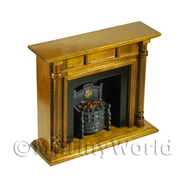 Dolls House Miniature Brown Wooden Fireplace
