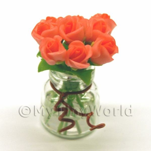 Dolls House Miniature  | 9 Miniature Pink Roses in a Short Glass Vase