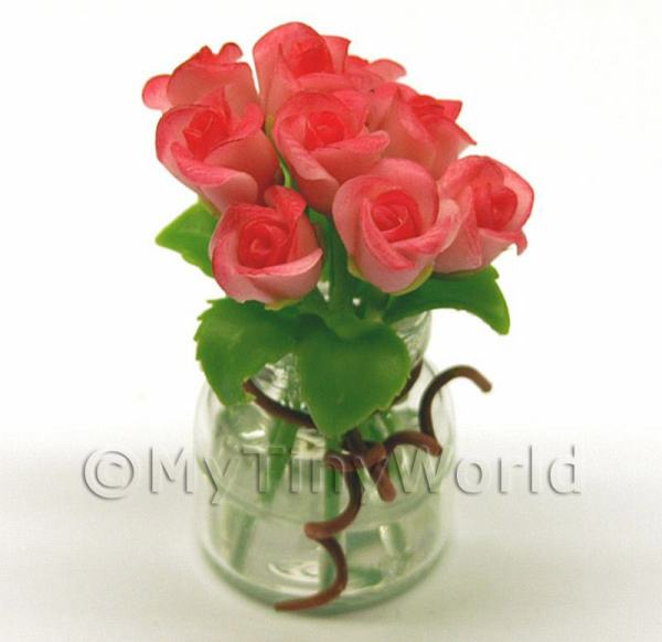 Dolls House Miniature  | 9 Miniature Red/Pink Roses in a Short Glass Vase