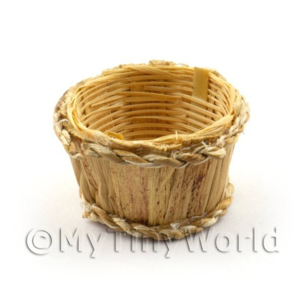 Dolls House Miniature  | Dolls House Miniature Half Barrel Style Basket