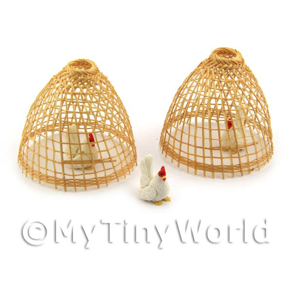Dolls House Miniature Asian Style Chicken Coups with Chickens