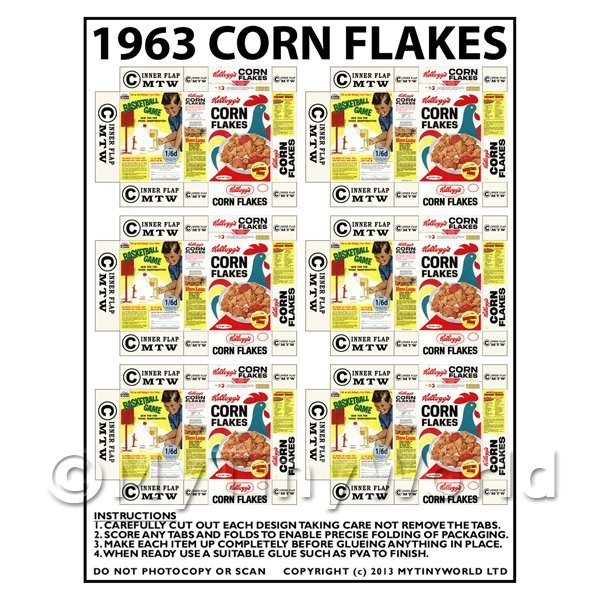 Dolls House Miniature Packaging Sheet of 6 1963 Corn Flakes