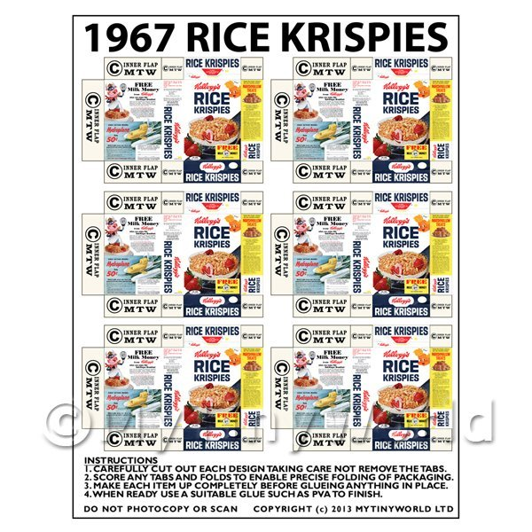 Dolls House Miniature Packaging Sheet 6 of 1967 Rice Krispie Boxes