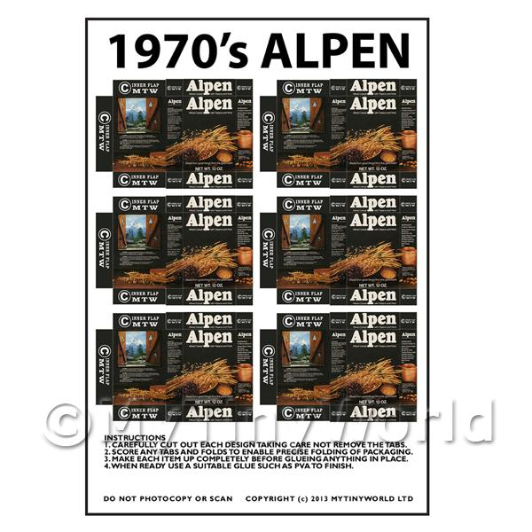 Dolls House Miniature Packaging Sheet of 6 Alpen Cereal Boxes
