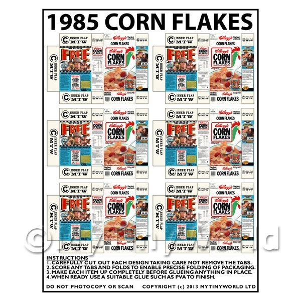 Dolls House Miniature Packaging Sheet of 6 1985 Corn Flakes