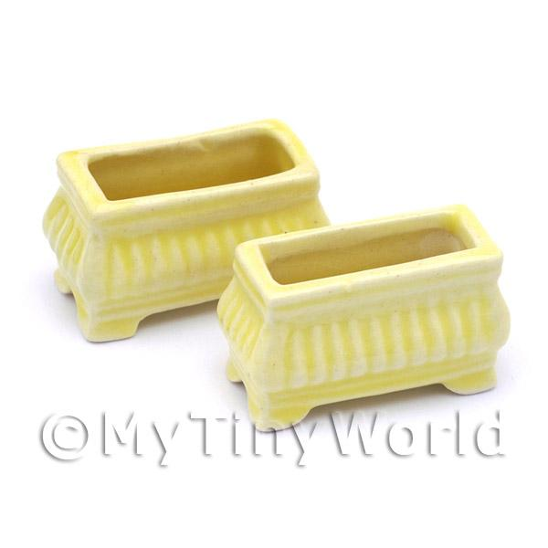 Dolls House Miniature  | 2 Dolls House Miniature Garden Yellow Flower Box / Planters