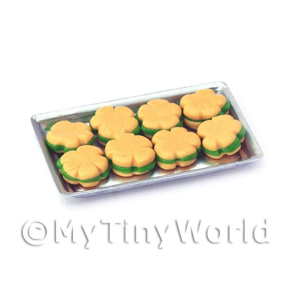 1/12 Scale Dolls House Miniatures  | Dolls House Miniature Flower Shaped Green Biscuits On A Tray