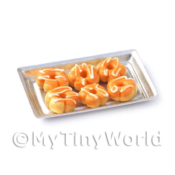 Dolls House Miniature  | 6 Orange Flower Shaped Donuts On A Tray