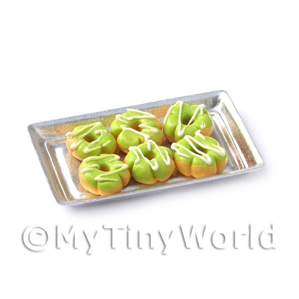 Dolls House Miniature  | Dolls House Miniature Green Flower Shaped Donuts On A Tray