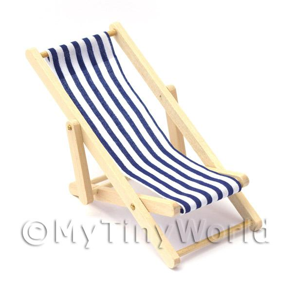 Dolls House Miniature  | Dolls House Miniature Blue and White Garden Deck Chair