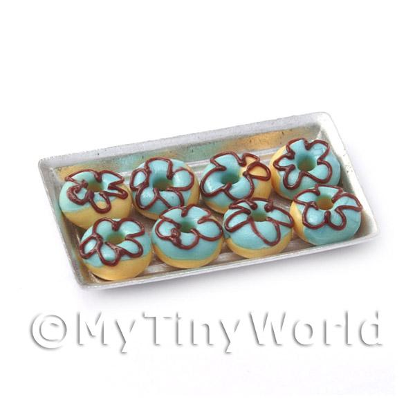 Dolls House Miniature  | Dolls House Miniautre Blue Donuts On A Tray