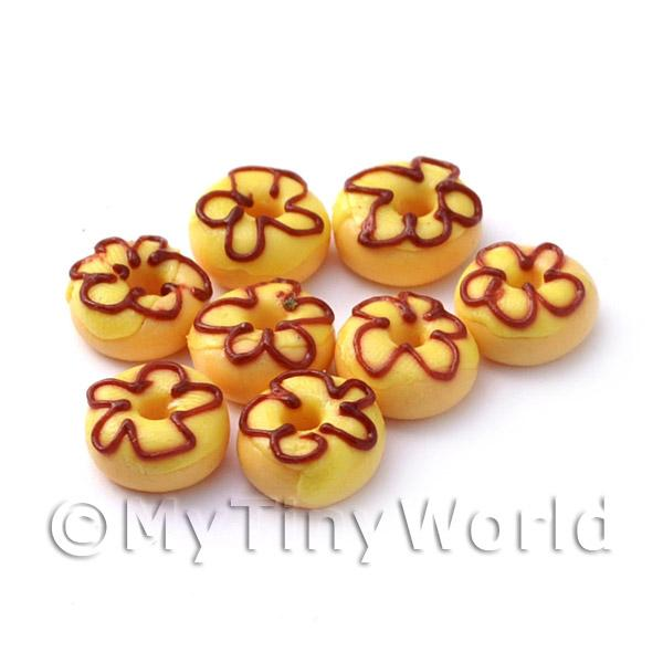 Dolls House Miniature Yellow Iced Flower Donut