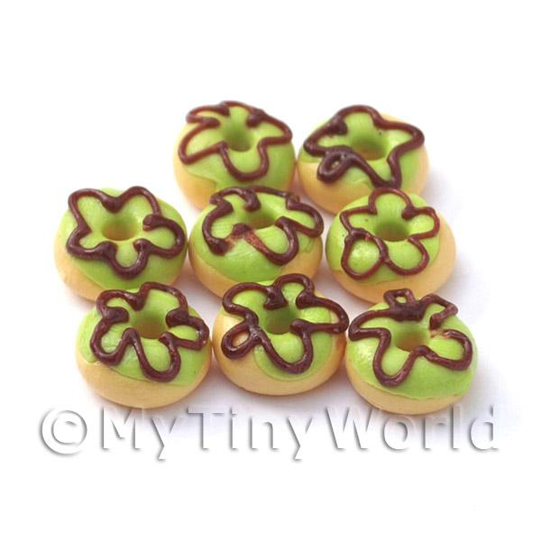 Dolls House Miniature Green Iced Flower Donut