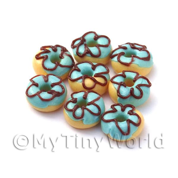 Dolls House Miniature Blue Iced Flower Donut