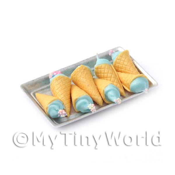 Dolls House Miniature  | Miniature Blue Fluffy Marshmallow Cones On A Tray