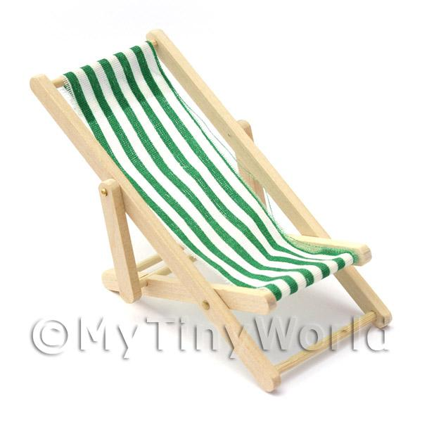 Dolls House Miniature Green and White Garden Deck Chair