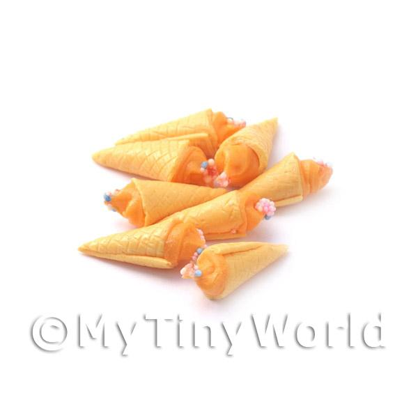 Dolls House Miniature Orange Ice Cream Cone