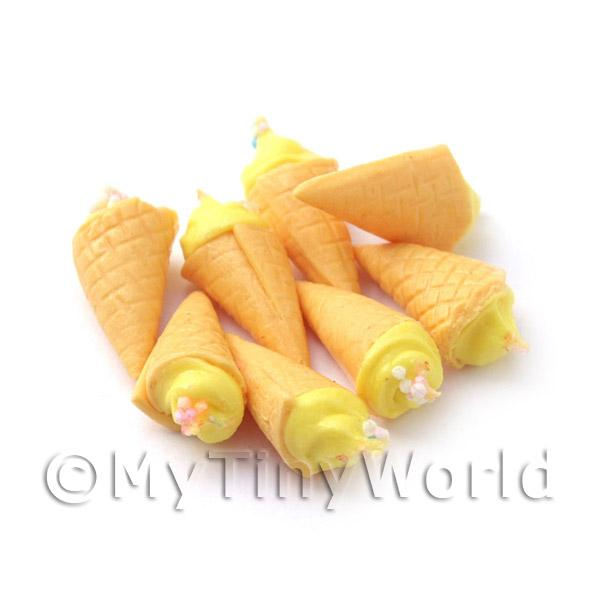 Dolls House Miniature Yellow Ice Cream Cone