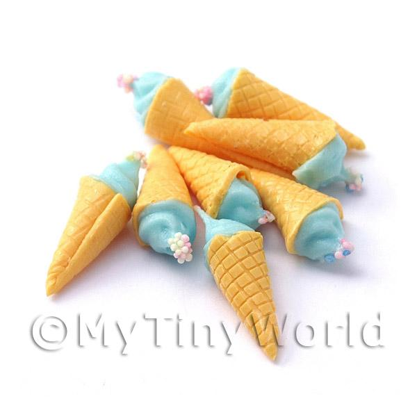 Dolls House Miniature Blue Ice Cream Cone
