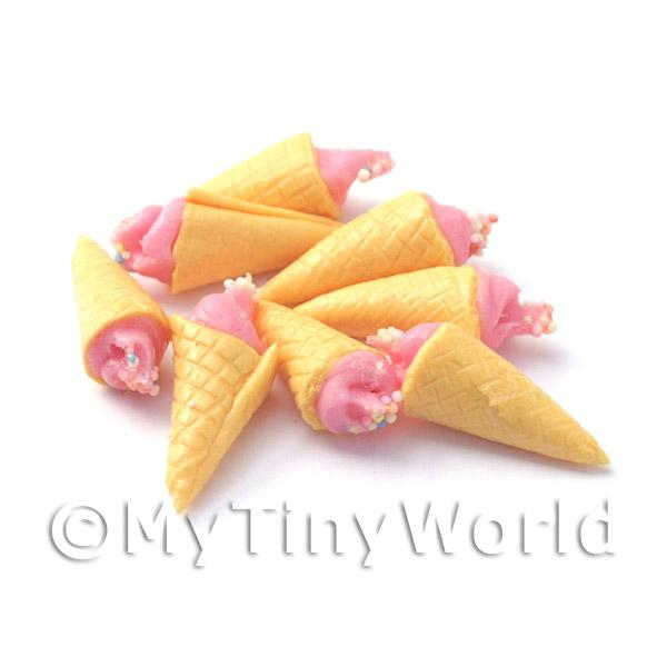 Dolls House Miniature  | Dolls House Miniature Pink Ice Cream Cone