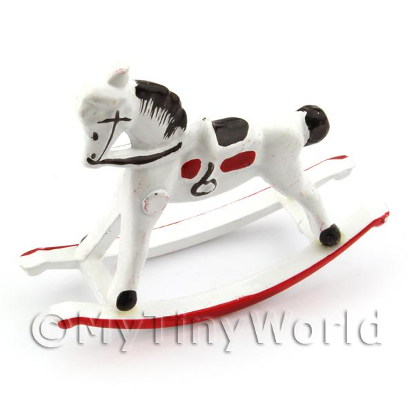 Dolls House Miniature White And Red Metal Childrens Rocking Horse
