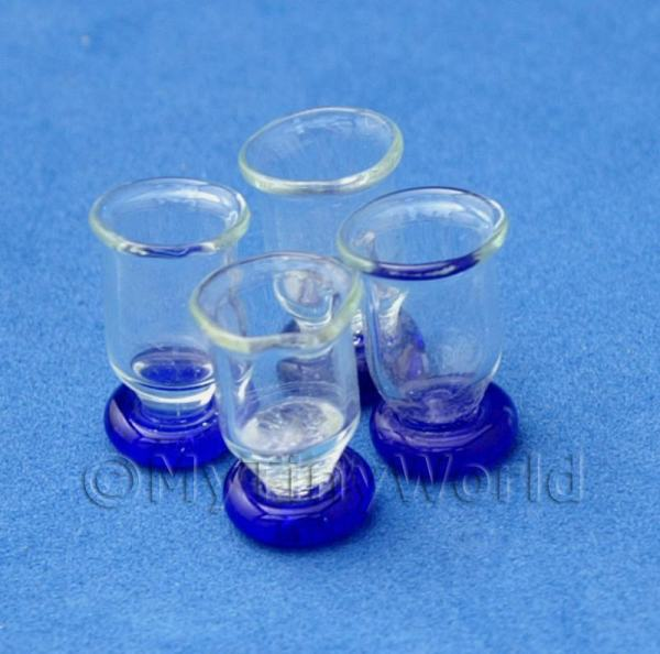 Dolls House Miniature  | Dolls House Miniature 4 Piece Blue Bottom Real Glass Set