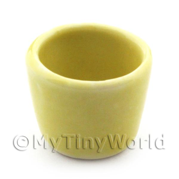 Dolls House Miniature  | 17mm Dolls House Miniature Yellow Glazed Ceramic Plant Pot