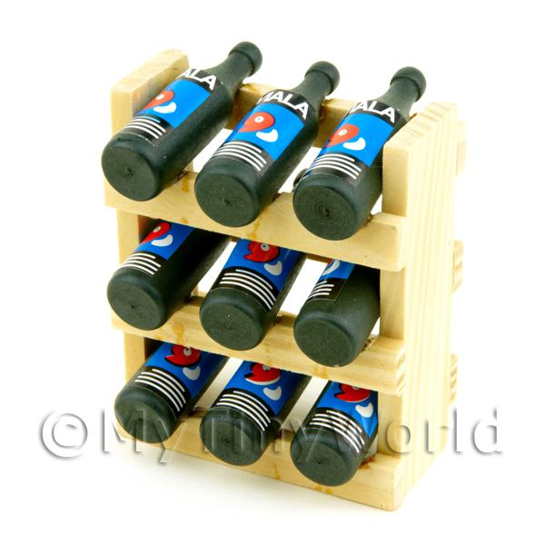 Dolls House Miniature Wine Rack Complete With 9 Wine Bottles