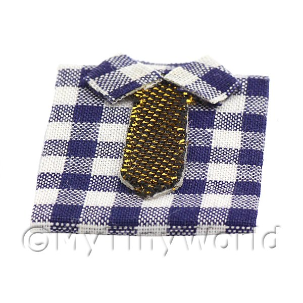 Dolls House Miniature Shirt With Large Blue and White Checks