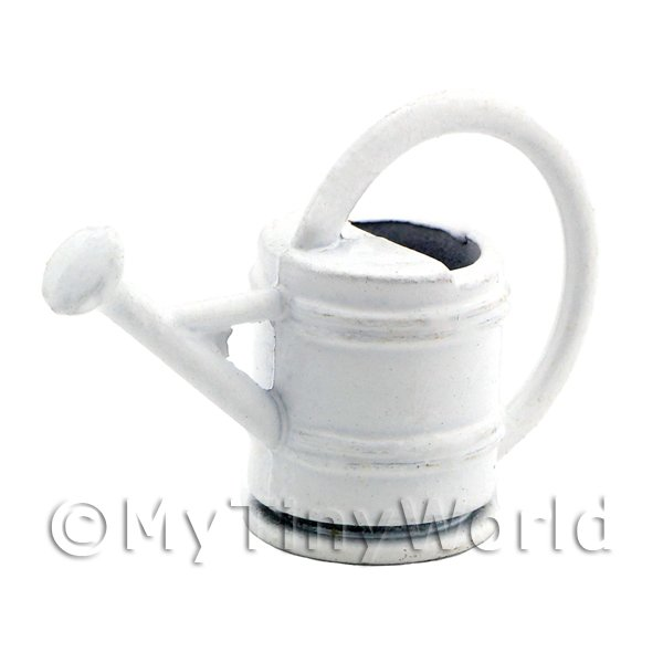 Dolls House Miniature White Metal Garden Watering Can