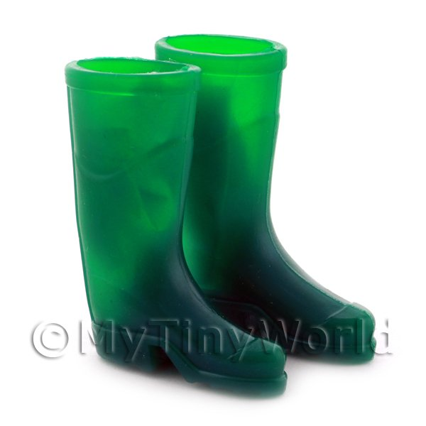 1/12 Scale Dolls House Miniatures  | Dolls House Miniature Pair of Green Rubber Wellington Boots