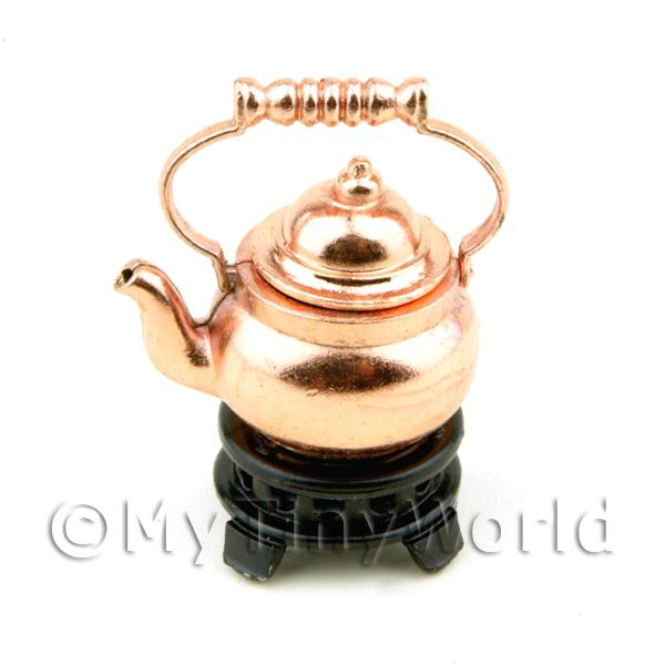 Dolls House Miniature Copper Color Metal Kettle on a Base