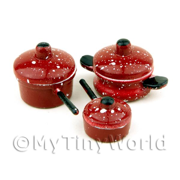 Dolls House Miniature Metal Pots And Pans Set With Removable Lids