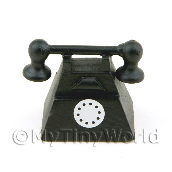 Dolls House Miniature Old Style Black Telephone