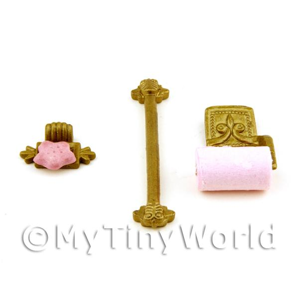 Dolls House Miniature 3 Piece Cloakroom Accessory Set