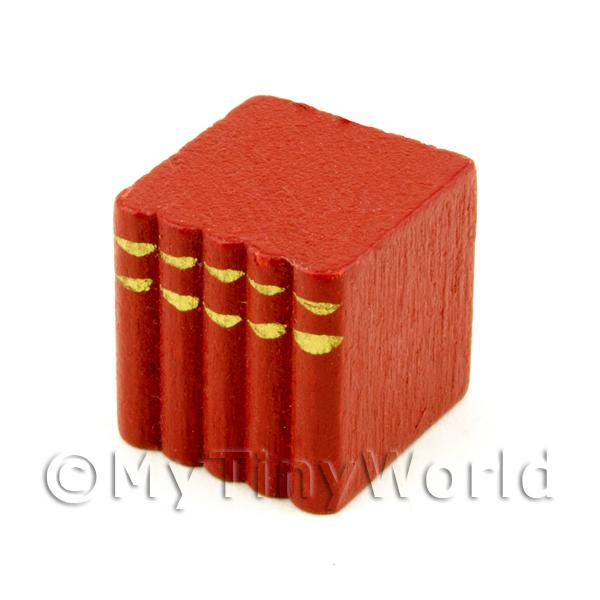 Dolls House Miniature  | Dolls House Miniature Red Wood Block Of Books