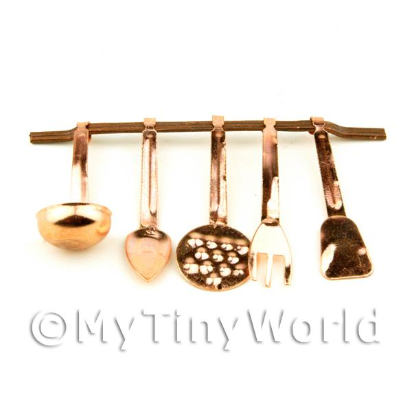 Dolls House Miniature Wall Hanging Copper Kitchen Utensil Set