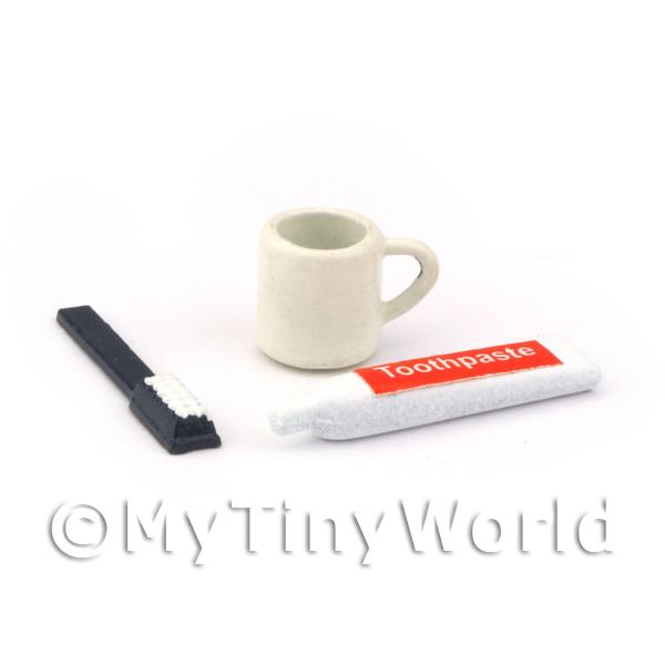 Dolls House Miniature Toothpaste, Brush and Mug Set