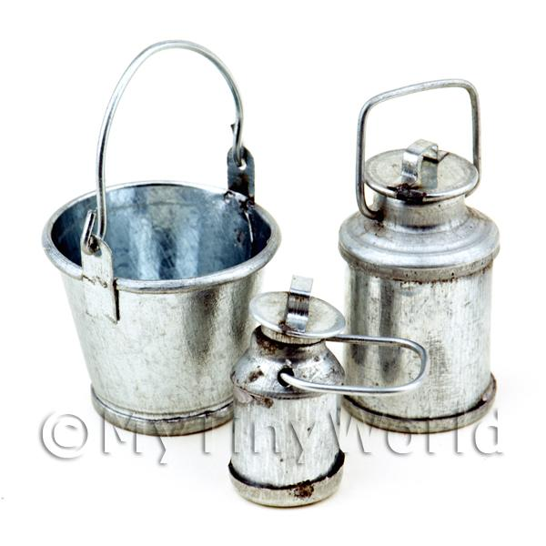 Dolls House Miniature Metal Bucket With Two Sizes Of Milk Urns