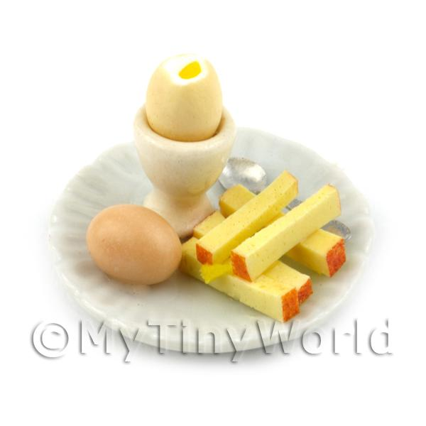 Dolls House Miniature Boiled Egg Top Off On A White Plate Style 2