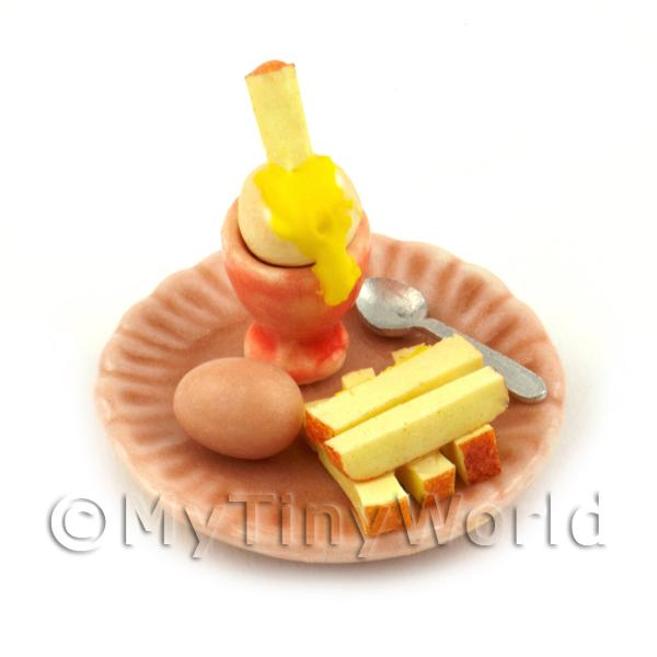 Dolls House Miniature Boiled Egg Being Dipped On A Salmon Plate
