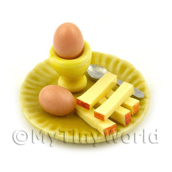 Dolls House Miniature Boiled Egg and Toast on A Yellow Plate Style 1