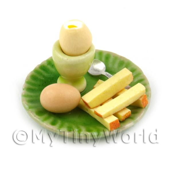 Dolls House Miniature Boiled Egg Top Off On A Green Plate Style 2