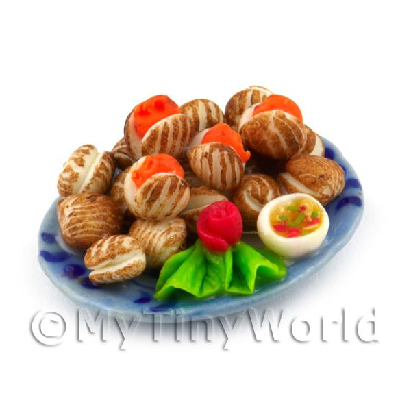 Dolls House Miniature Plate of Clams on a Ceramic Plate